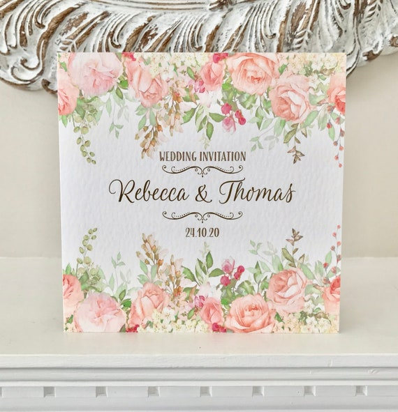 FLORAL Wedding INVITATION | PEACH, Blush, Coral, Mint | Textured card and Envelope | With Gift List and Rsvp details | Free Delivery