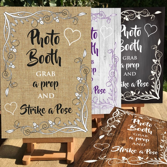 Rustic Wedding SIGNS | Photo Booth Grab a Prop | PRINTED Hessian Burlap Rustic design or DIGITAL | A3 on Foam Board | Fast Delivery
