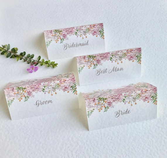 WEDDING place cards | PERSONALISED with guest name | Menu choice | NAME Tags | Dusky Pink Floral design Ivory or White card | Free Delivery