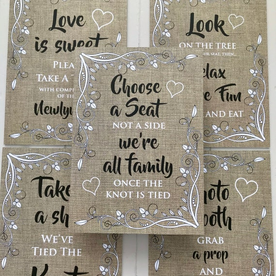 RUSTIC Wedding SIGNS | Take a Shot, Choose a Seat, Photo Booth, Love is Sweet, Tree | PRINTED Hessian (Burlap) or Digital | A3 on Foam Board