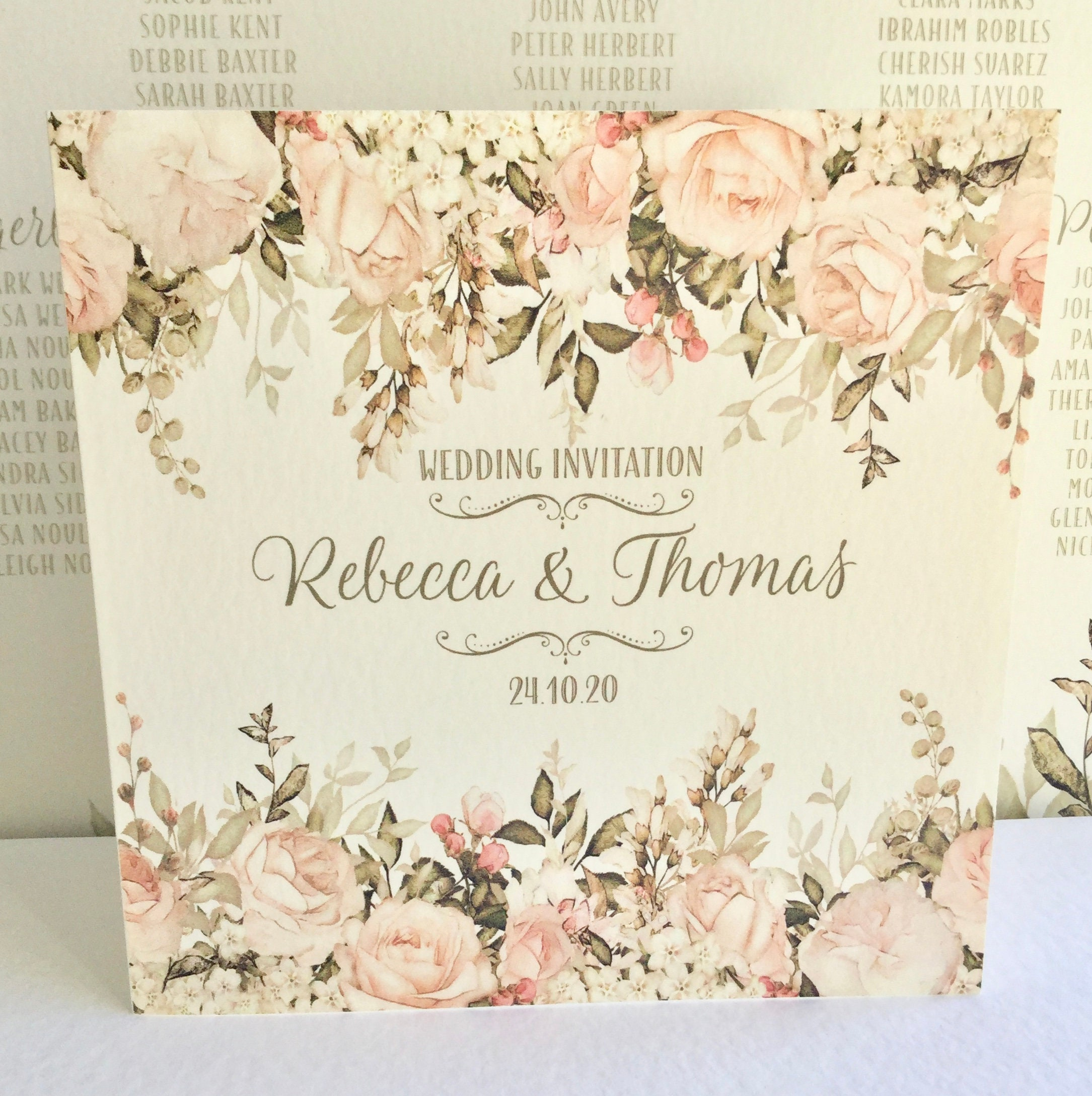 Floral Wedding Invitation Blush Caramel Ivory Gold Lettering