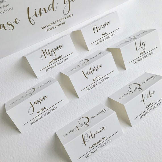 WEDDING place cards | PERSONALISED with guest name | Guest Menu Choice | NAME Tags | Table Menu | Modern Typography Dark Gold | White card