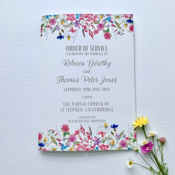 Wedding Ceremony | Order of Service Booklet | Church or Civil Ceremony | Colourful Wildflower Design | Textured Card Cover | 7 x inner pages