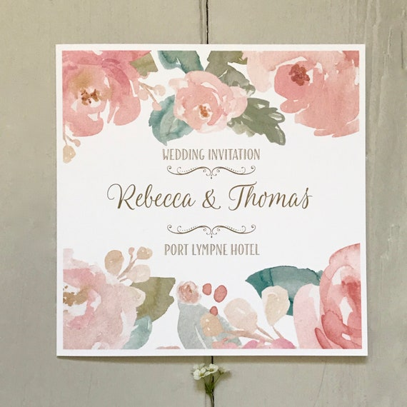 BLUSH Floral Wedding Invitation | Watercolour PEONIES | Textured card | Personalise Wording Gifts Rsvp Menu Timeline of Day | Evening Invite