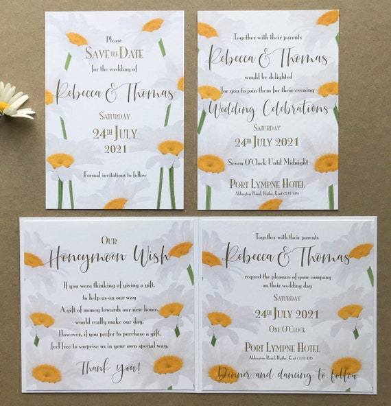 Daisy Wedding Invitation | Evening Invitation | Matching Save the Date | Textured card | With Gift List and Rsvp | No Minimum Order