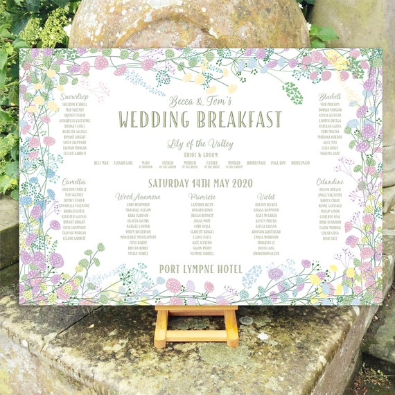 Wedding TABLE Plan and SEATING Chart Sign | Pastel Floral Wreath | Forest Green Type | PRINTED in three sizes or Digital | Fast Delivery