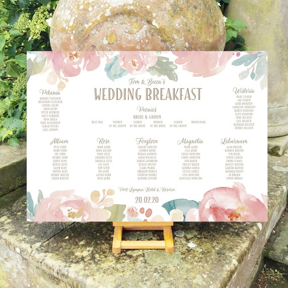 Wedding TABLE and SEATING Plan | Watercolour Peonies Design | Blush Pink | PRINTED in three sizes or Digital Version | Fast Delivery