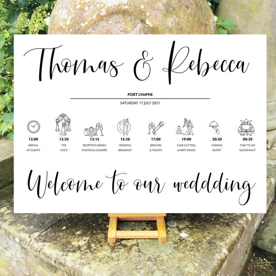 Wedding WELCOME sign | Modern Typography | Gold or Black | TIMELINE Order of the Day | PRINTED on Board, Poster or Digital | Fast Delivery