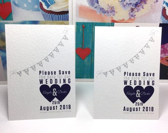 Wedding SAVE the DATE cards Silver BUNTING and Midnight Blue / Dark Navy Hearts. Fully Personalised and wax printed on white textured card