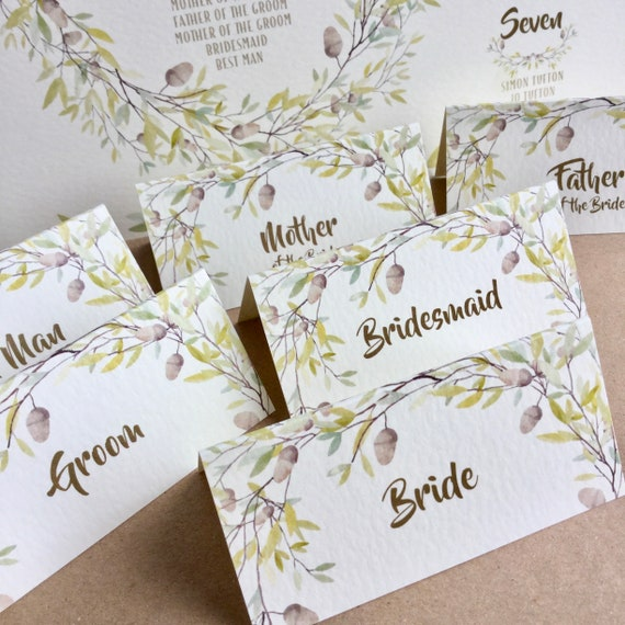 WEDDING place cards | PERSONALISED with guest name | Menu Choice | NAME Tags add ribbon | Table Name Cards | Autumn wreath design, gold type