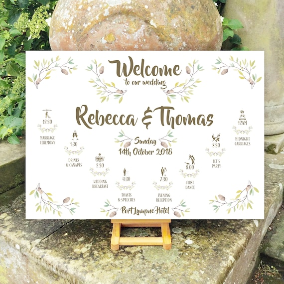 Autumn Wedding WELCOME sign | Rustic Wreath design | TIMELINE Order of the Day | PRINTED on Board, Poster or Digital Version | Fast Delivery