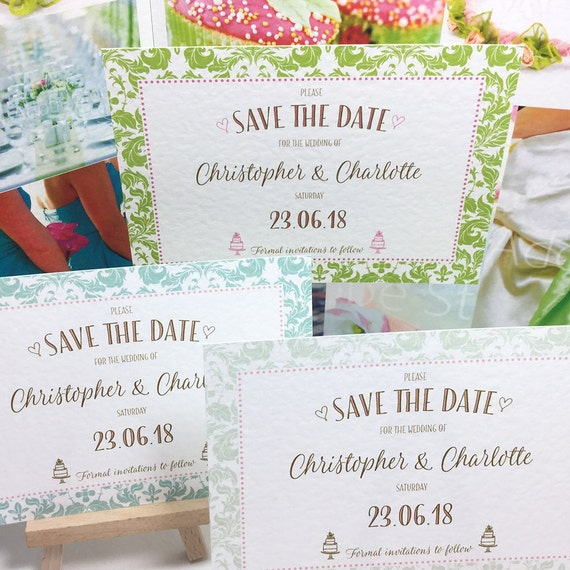 Wedding SAVE the DATE cards in 3 pretty GREEN border patterns with a hint of Pink | Personalised & printed on Textured card | Free Delivery