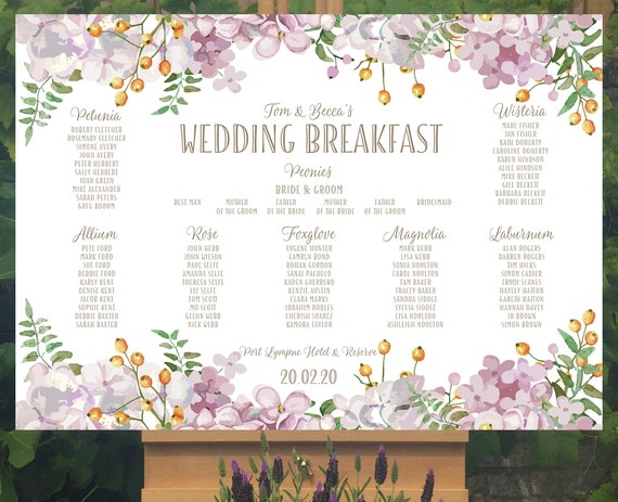 Floral Wedding TABLE Plan and SEATING Chart | Dusky shades of Pink and Green | PRINTED in three sizes or a Digital Version | Fast Delivery