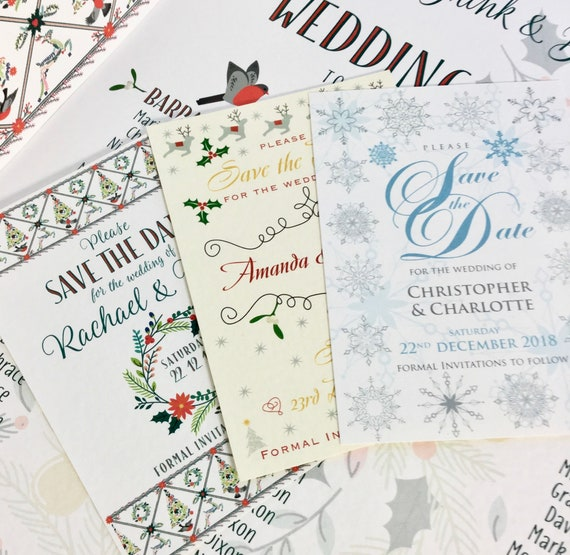SAVE the DATE cards | Winter & Christmas Wedding | Printed on Textured card | Warm Red, Ivory, Gold and Ice Blue and Silver | Free Delivery