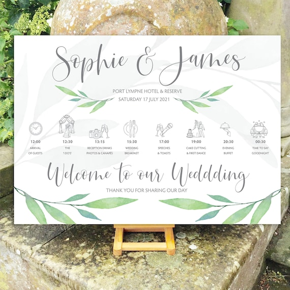 Wedding WELCOME sign | Watercolour Greenery Leaf | Silver or Black/Gold type | TIMELINE Order of Day | PRINTED on Board, Poster or Digital