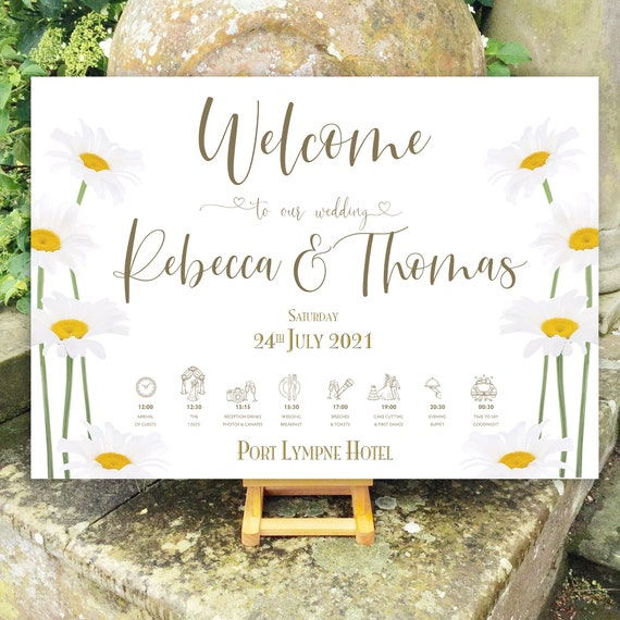 Daisy Wedding WELCOME sign | Rustic Boho Design for Summer | TIMELINE Order of the Day | PRINTED on Board, Poster or Digital | Fast Delivery