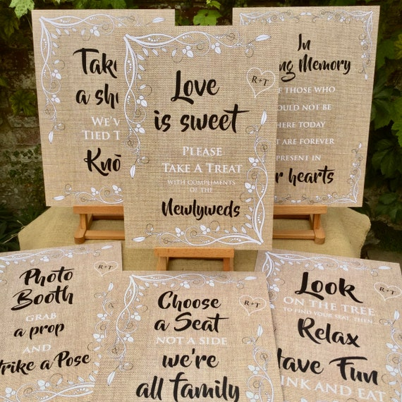 Wedding SIGNS A3 A4 on Foam board | PRINTED Hessian (Burlap) Rustic design | Photo Booth | Love is Sweet | Take a shot | In Loving Memory |