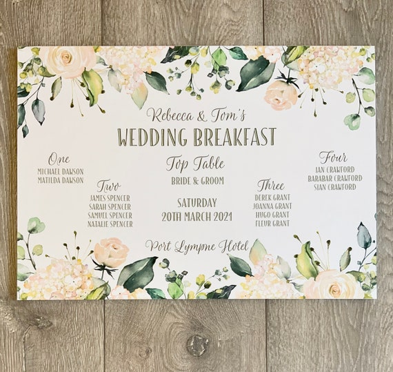 SMALL Wedding TABLE Plan and SEATING Chart | White Roses and Hydrangea | A3 Print on Textured Card | Foam Board Backing | Fast Delivery