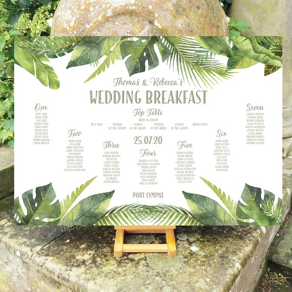 Greenery Wedding TABLE Plan and SEATING Chart Sign | Watercolour Leaves | Tropical Green | PRINTED in three sizes or Digital | Fast Delivery
