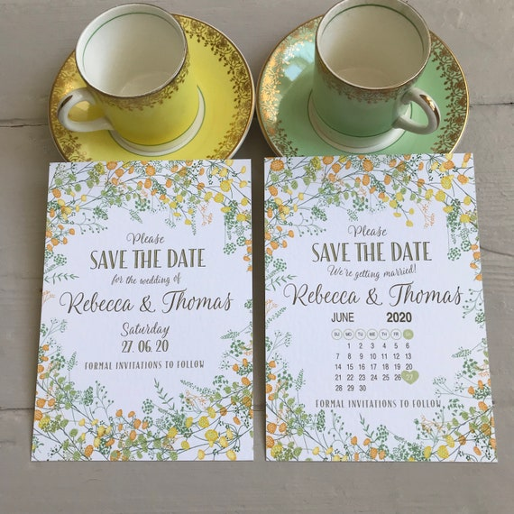 Summer Wedding SAVE the DATE cards | Matching Evening Invitation | YELLOW Floral design | With Calendar | Textured card | Fast Delivery