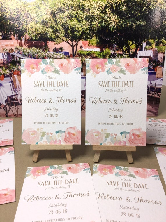 SAVE the DATE cards Watercolour Peonies in Blush Pinks and Gold fully PERSONALISED and digitally wax printed on textured card stock