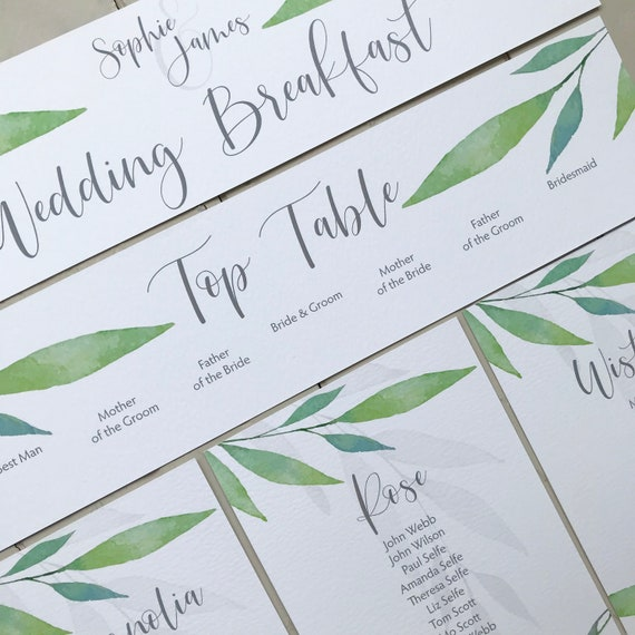 Wedding Seating Table Plan CARDS | Watercolour Greenery Leaves | Attach to a MIRROR | Hang from a FRAME | Easy to pack | White textured Card
