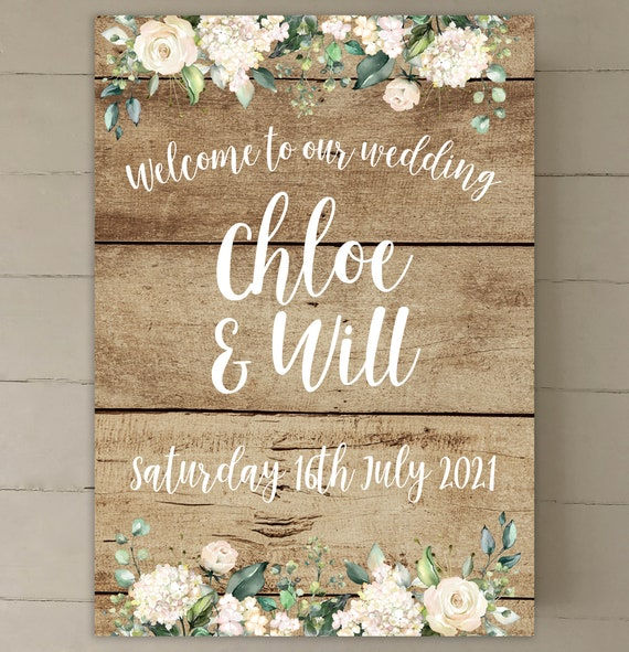 RUSTIC Wedding WELCOME sign | PRINTED on Board, Poster or Digital | Oak Wood Background with White Flowers and Lettering | Fast Delivery