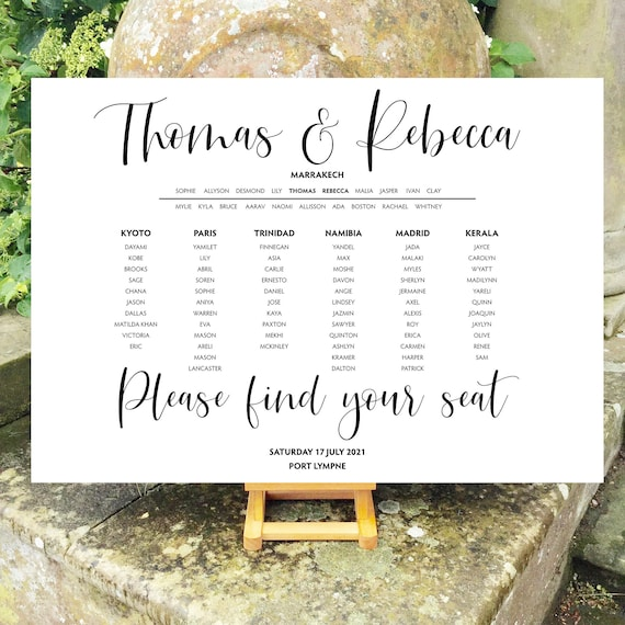Modern Typography TABLE Plan and SEATING Chart | Dark Gold or Rich Black Type | PRINTED in three sizes or Digital Version | Fast Delivery