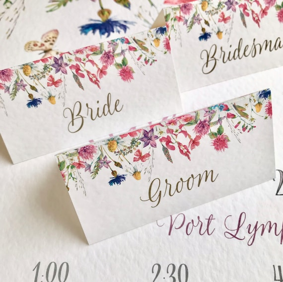 WEDDING place cards | PERSONALISED with guest name | Menu choice | NAME Tags | Colourful Wildflower design | Free Delivery