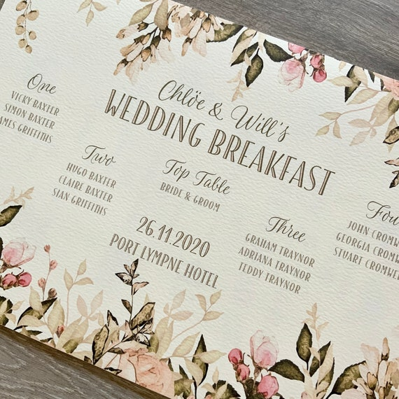 SMALL Wedding TABLE Plan and SEATING Chart | Blush Pink Floral | A3 Print on Textured Card | Foam Board Backing | Fast Delivery