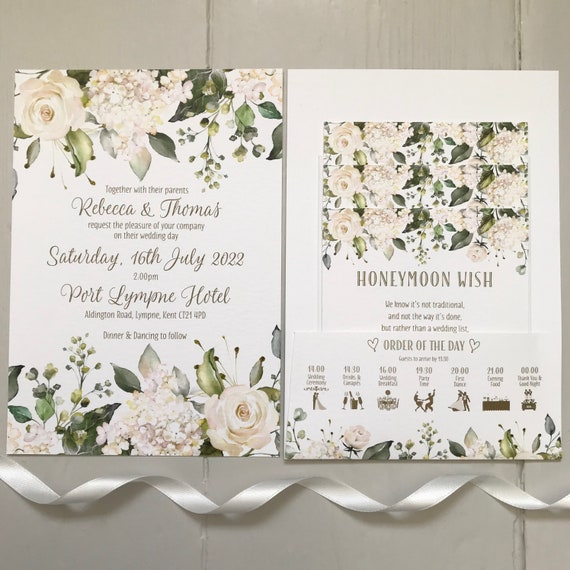 Wedding Invitation | POCKET-FOLD with Gifts, Menu, Rsvp or FLAT Invite with Rsvp | White Floral, Greenery, Gold Type | White Textured Card