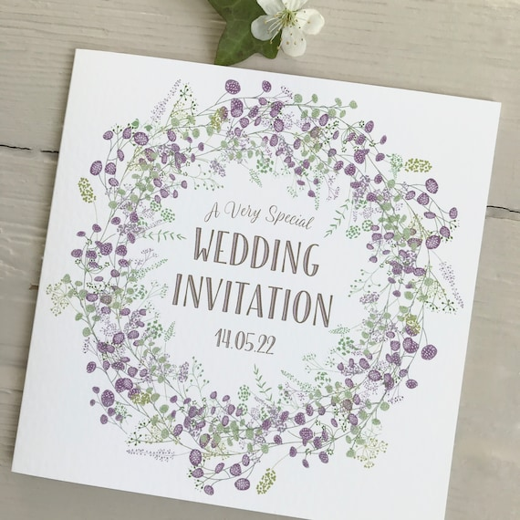 WEDDING INVITATION | Lilac PURPLE Floral Wreath | Textured card Kraft envelope | Personalised Wording for Gifts, Rsvp, Menu, Timeline of Day