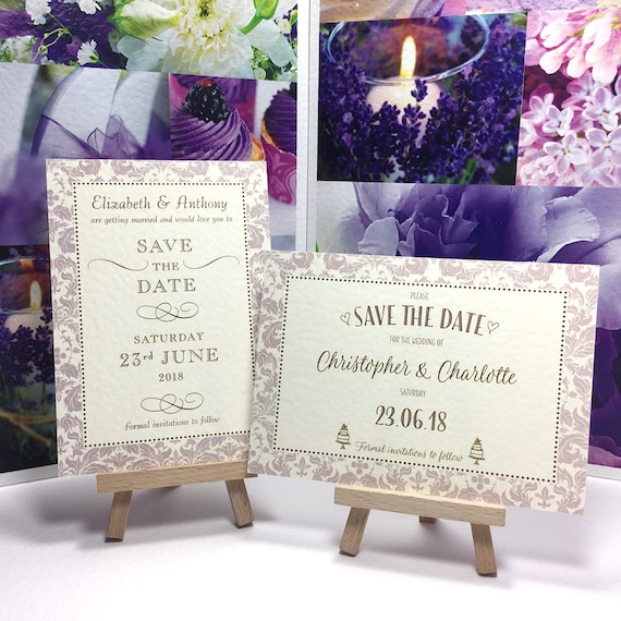 Elegant Wedding SAVE the DATE cards | Fino Lavender border pattern with gold type | IVORY textured card | Free Delivery