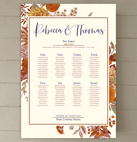 TABLE Plan and SEATING Chart | Botanic Floral Design Burnt Orange | Pale Ivory or White | PRINTED in three sizes or Digital | Fast Delivery