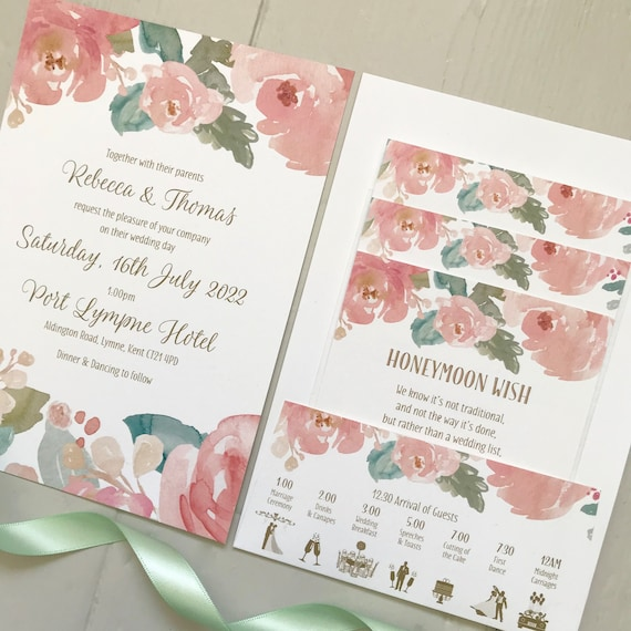 Wedding Invitation | POCKET-FOLD with Gifts, Menu, Rsvp | FLAT Invite with Rsvp | Evening Invite | Blush Watercolour Peonies | Textured Card