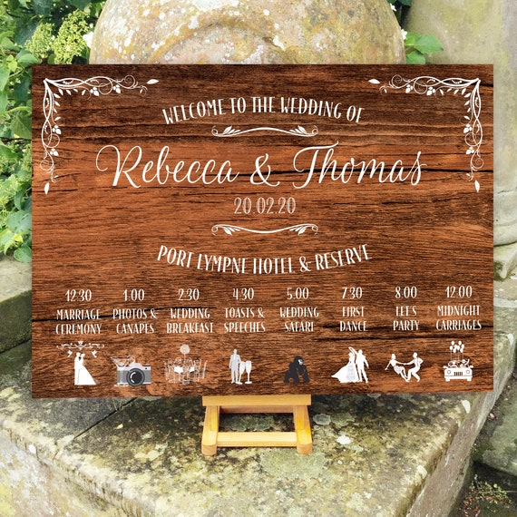 Wedding WELCOME sign and ORDER of the Day | PRINTED on Board, Poster or Digital | Rustic wood, Chalkboard or Hessian design | Fast Delivery