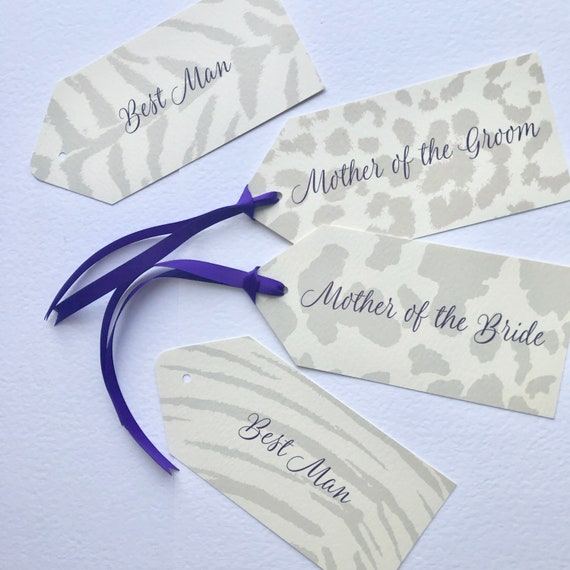RESERVED Wedding Ceremony Chair TAGS | Bridal Party Seating | PERSONALISED with guest name | Animal Patterns | Zoo Theme | Free Delivery