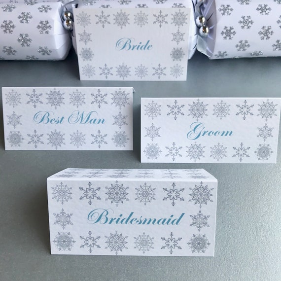 Snowflakes WINTER Wedding Reception | Ice Blue Silver | Guest Place Cards | Table Name | Cracker Name Tag | Textured Card | Free Delivery