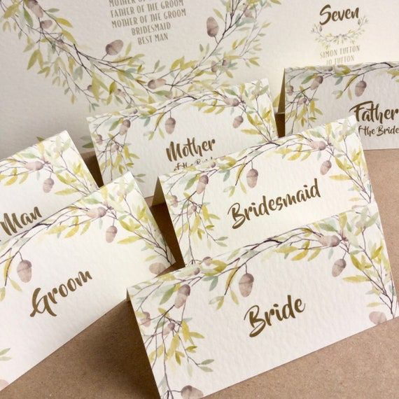 WEDDING place cards on Ivory | PERSONALISED with guest name | Menu Choice | NAME Tags add ribbon | Table Name Card | Autumn wreath design