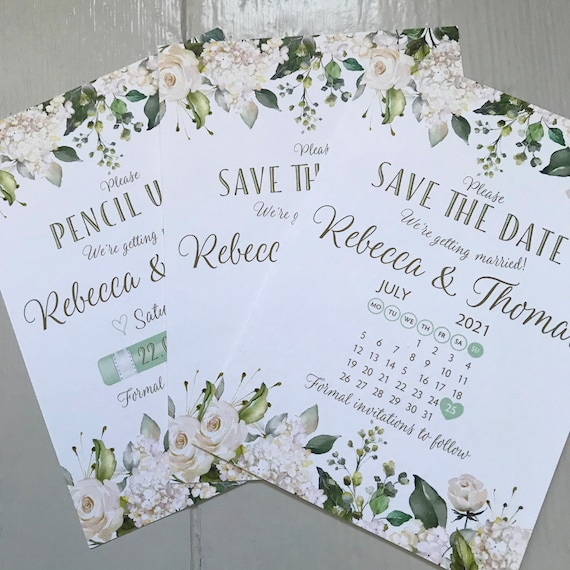 Wedding SAVE the DATE cards | Pencil Us In | With Calendar | White Floral Design | Textured Card and Envelopes | Save the Day |Free Delivery