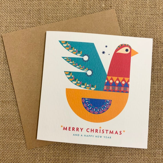 Personalised CHRISTMAS Card | Add your own MESSAGE | Christmas Partridge printed on beautiful TEXTURED card | Kraft Envelope | Free Delivery