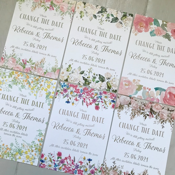 Wedding CHANGE the DATE cards | Delay the Date Postponement Cards | Floral Designs | Textured card and Envelopes | Fast and Free Delivery