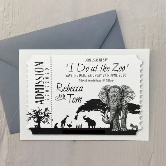 Safari Wedding SAVE the DATE cards | African Animals | Zoo Wedding | Ticket Design | Cream, Ivory or White Textured card | Free Delivery