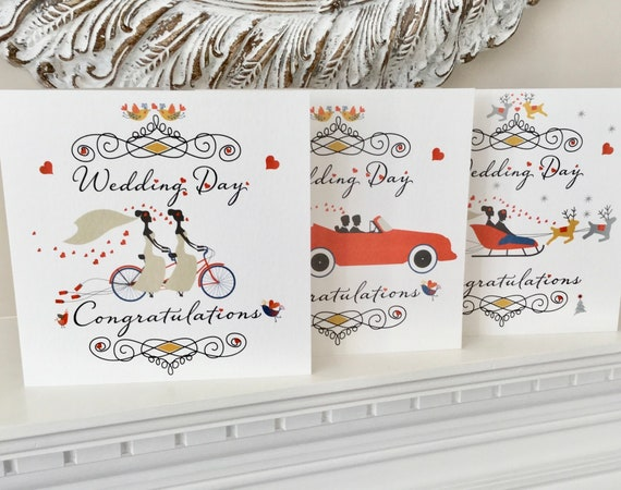 Wedding Day CONGRATULATIONS Card | Add your own MESSAGE | Bride and Groom, Bride and Bride, Groom and Groom, Winter Ceremony | FREE Delivery