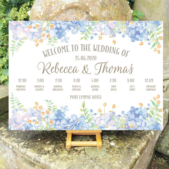 Wedding WELCOME sign | Pastel Blue Floral design | TIMELINE Order of the Day and icons | PRINTED on Board, Poster or Digital | Fast Delivery