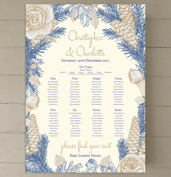 Wedding TABLE Plan SEATING Chart | Gold Blue Floral on Ivory or White | Winter Christmas | PRINTED in three sizes or Digital | Fast Delivery