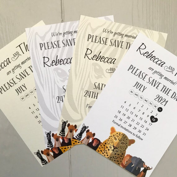 Safari Wedding SAVE the DATE cards | African Animals | Zoo Wedding | Calendar | Ivory or White Textured card | Grey/Kraft/Textured Envelopes
