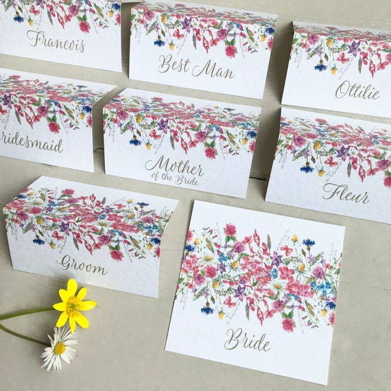 WEDDING place cards | PERSONALISED with guest name | Colourful Wildflower design | Menu choice | NAME Tags | Table Name Cards | Table Menu