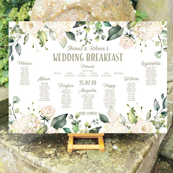 Floral Wedding TABLE Plan and SEATING Chart | White Roses and Hydrangea | PRINTED in three sizes or Digital | Fast Delivery