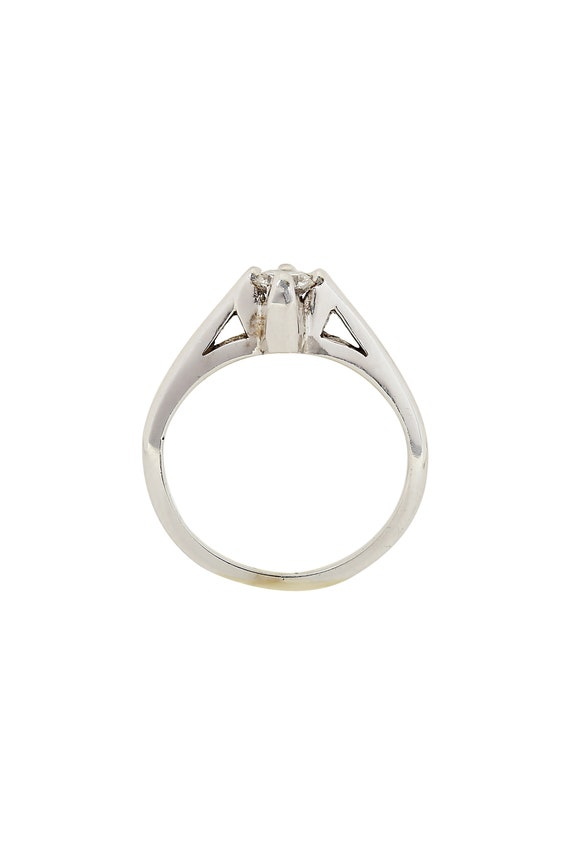 Diamond Solitaire 14K White Gold Ring - image 2